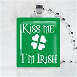 Kiss Me I am Irish Shamrock Scrabble Game Tile Necklace