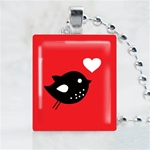 Love Bird Red Scrabble Game Tile Necklace