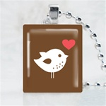 Love Bird Brown Scrabble Game Tile Necklace