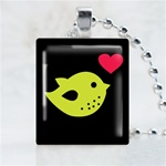 Green Love Bird Scrabble Game Tile Necklace