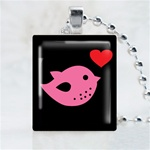Pink Love Bird Scrabble Game Tile Necklace
