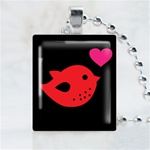 Red Love Bird Scrabble Game Tile Necklace