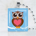 Blue Love Owl Scrabble Game Tile Necklace