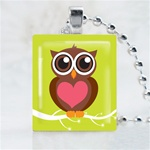 Green Love Owl Scrabble Game Tile Necklace