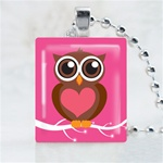 Pink Love Owl Scrabble Game Tile Necklace