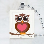 White Love Owl Scrabble Game Tile Necklace