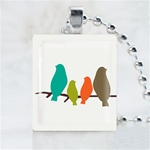 Family Birds Scrabble Game Tile Necklace