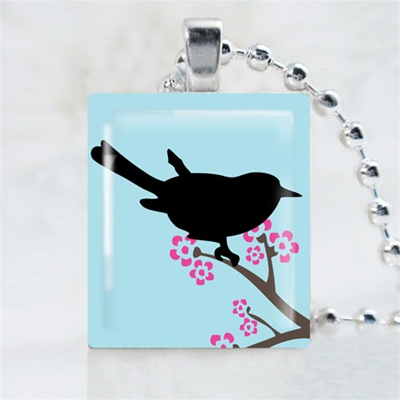 Blossom Bird Scrabble Game Tile Necklace
