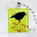 Wild Field Bird Green Scrabble Game Tile Necklace