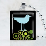 Wild Field Bird Black Scrabble Game Tile Necklace