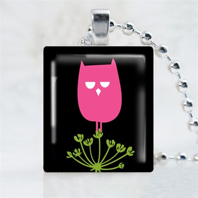 Wild Field Owl Pink Scrabble Game Tile Necklace