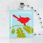 Acorn Bird Scrabble Game Tile Necklace