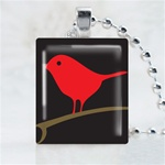 Red Song Bird Scrabble Game Tile Necklace