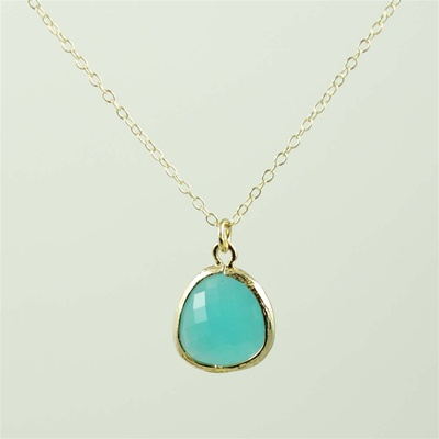 Gold Framed Green Stone Necklace