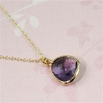 Gold Framed Purple Stone Necklace