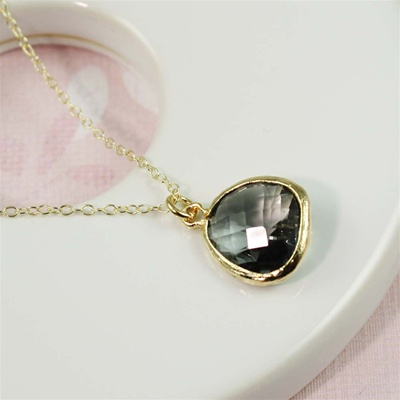 Gold Framed Gray Stone Necklace