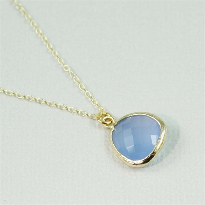 Gold Framed Blue Stone Necklace