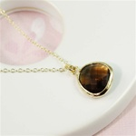 Gold Framed Brown Stone Necklace