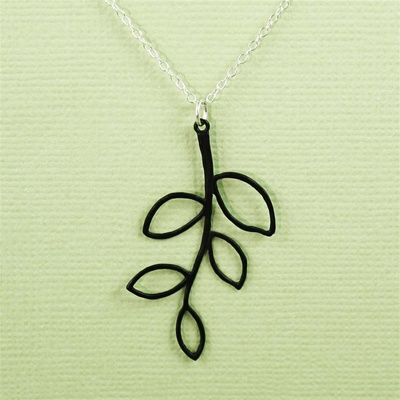 Black Leaf Branch Necklace