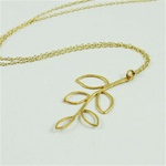 Gold Leaf Branch Necklace