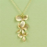 Gold Triple Orchid Necklace