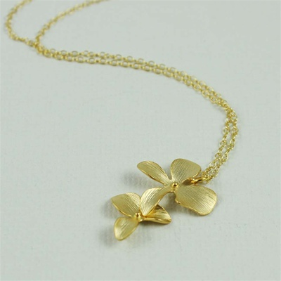 Gold Double Flower Necklace