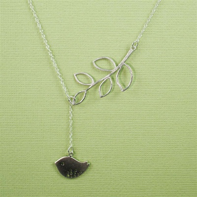 Silver Leaf Branch Bird Necklace