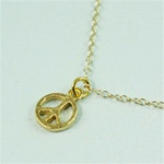Gold Peace Sign Charm Necklace