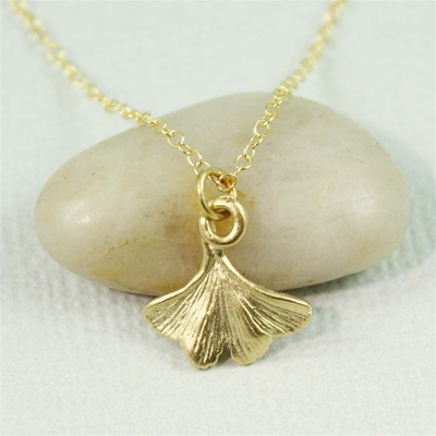 Gold Ginkgo Leaf Charm Necklace