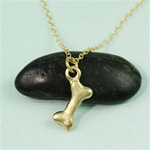 Gold Dog Bone Charm Necklace
