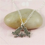 Silver Lovebird Charm Necklace