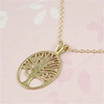 Large Gold Tree of Life Charm Necklace