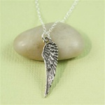 Large Silver Feather Charm Necklace