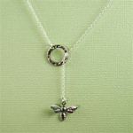 Silver Ring and Bee Charm Necklace