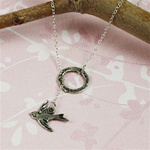 Silver Ring and Sparrow Charm Necklace