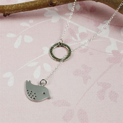 Silver Ring and Bird  Charm Necklace