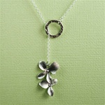 Silver Ring and Orchid Charm Necklace