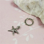 Silver Ring and Sea Star Charm Necklace