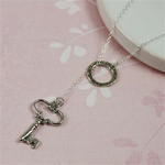 Silver Ring and Key Charm Necklace