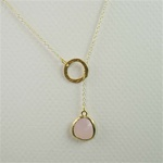 Gold Ring and Pink Stone Charm Necklace