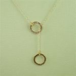 Gold Ring and Ring Charm Necklace