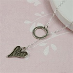 Silver Ring and Heart Charm Necklace
