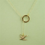 Gold Ring and Sparrow Charm Necklace