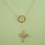 Gold Ring and Dragonfly Charm Necklace