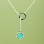 Silver Ring and Green Stone Charm Necklace