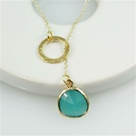 Gold Ring and Green Stone Charm Necklace