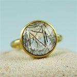 Gold Round Black Rutiled Quartz Ring