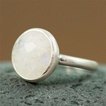 Silver Round Rainbow Moonstone Ring