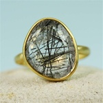 Gold Table Black Rutiled Quartz Ring