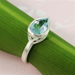 Silver Pear Blue Topaz Ring